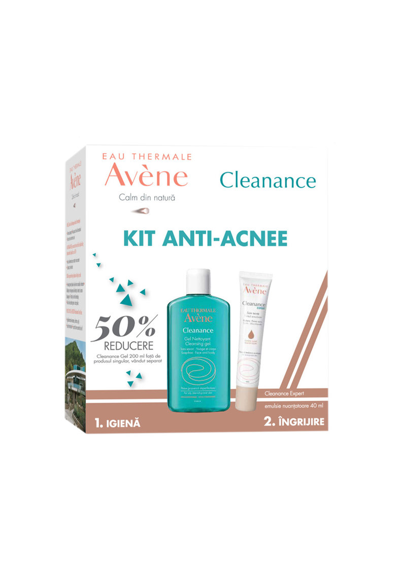 Avene Pachet ingrijire ten : Emulsie nuantatoare Cleanance Expert pentru ten acneic - 40 ml + Gel de curatare Cleanance pentru ten gras - 200 ml