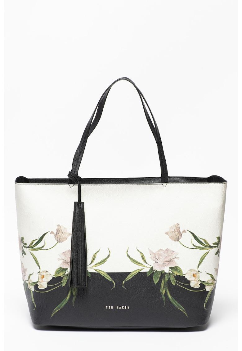 Geanta shopper din piele ecologica cu model floral Benitta