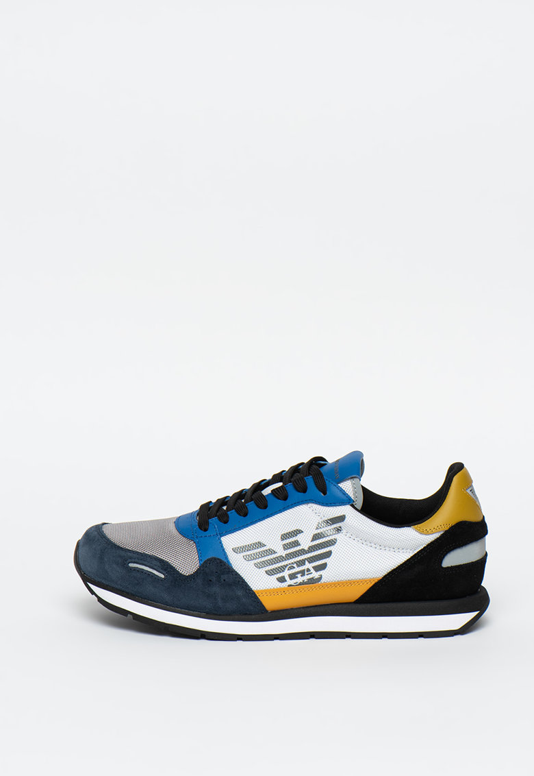 Pantofi sport de piele intoarsa cu insertii de plasa