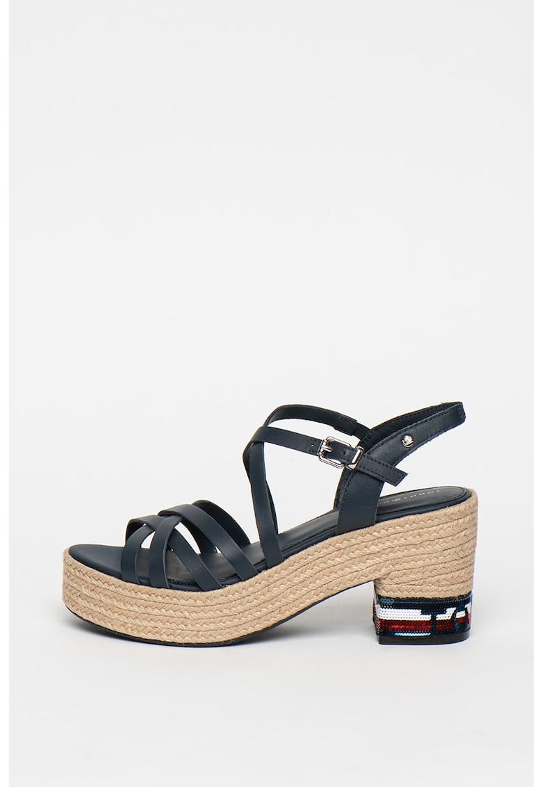 Sandale tip espadrile de piele