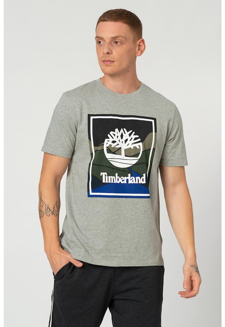 Tricou cu decolteu la baza gatului si imprimeu logo Horizon