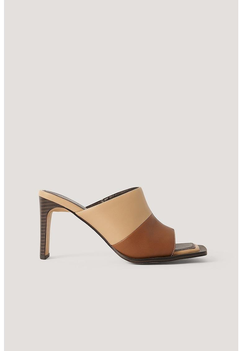 Papuci cu toc - din piele ecologica - cu model colorblock imagine