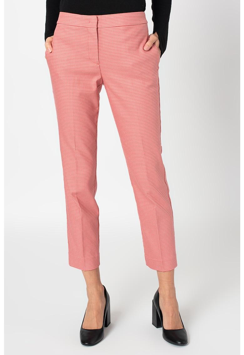 Pantaloni conici crop cu imprimeu houndstooth Imposta imagine promotie