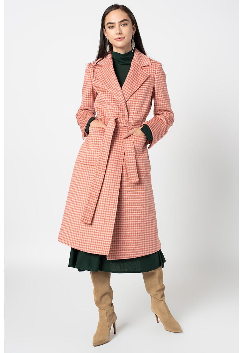 Palton de lana cu imprimeu houndstooth Runaway imagine promotie