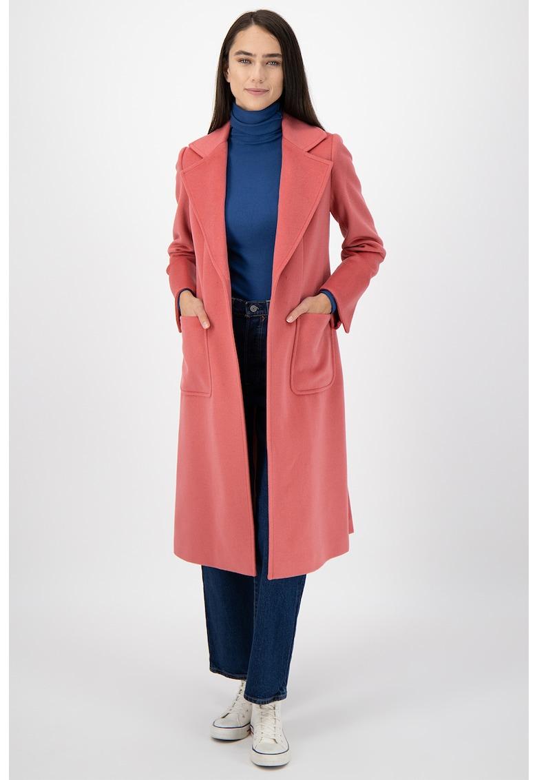 Palton midi din lana - cu croiala petrecuta si buzunare aplicate