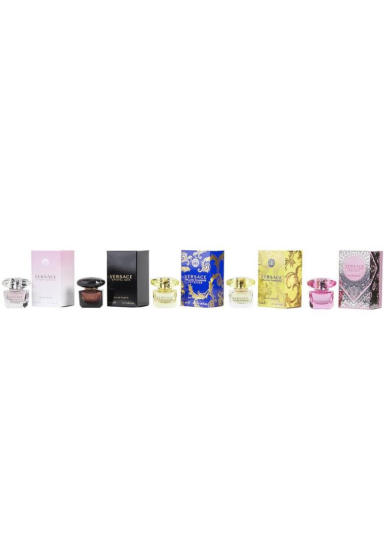 Versace Set  Crystal Noir - Femei: Apa de Toaleta Crystal Noir - 5ml + Apa de Toaleta Bright Crystal - 5ml + Apa de Toaleta Yellow Diamond - 5ml + Apa de Parfum Bright Crystal Absolu - 5ml + Apa de Parfum Yellow Diamond Intense - 5ml de la FashionDays.ro
