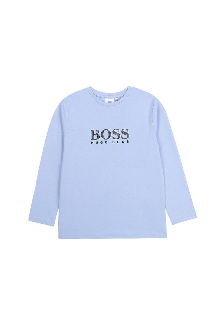 Bluza cu decolteu la baza gatului si imprimeu logo
