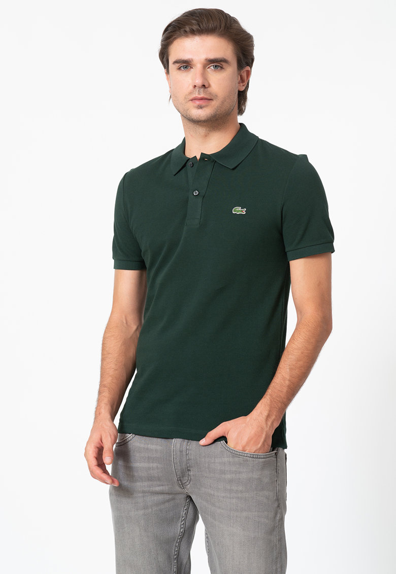 Tricou polo slim fit din material pique 3 imagine