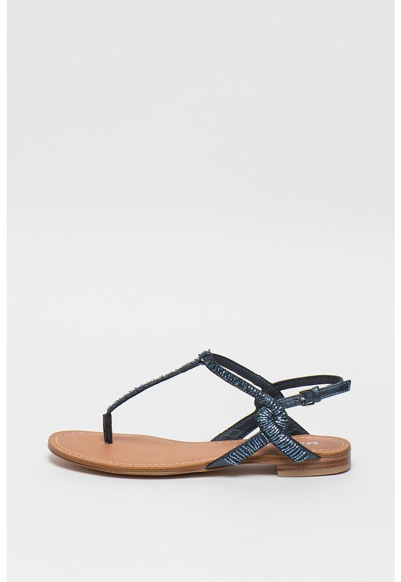 Sandale din piele cu bareta separatoare si margele