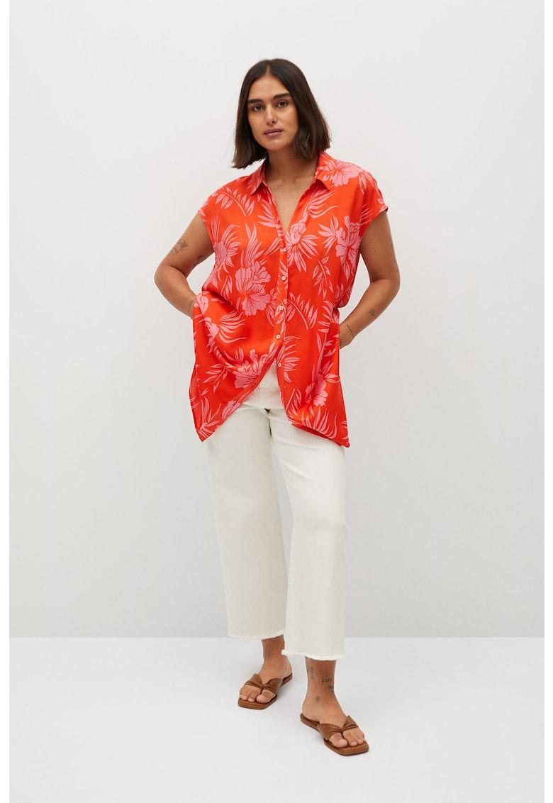 Camasa cu maneci scurte si model tropical Hawaii fashiondays.ro