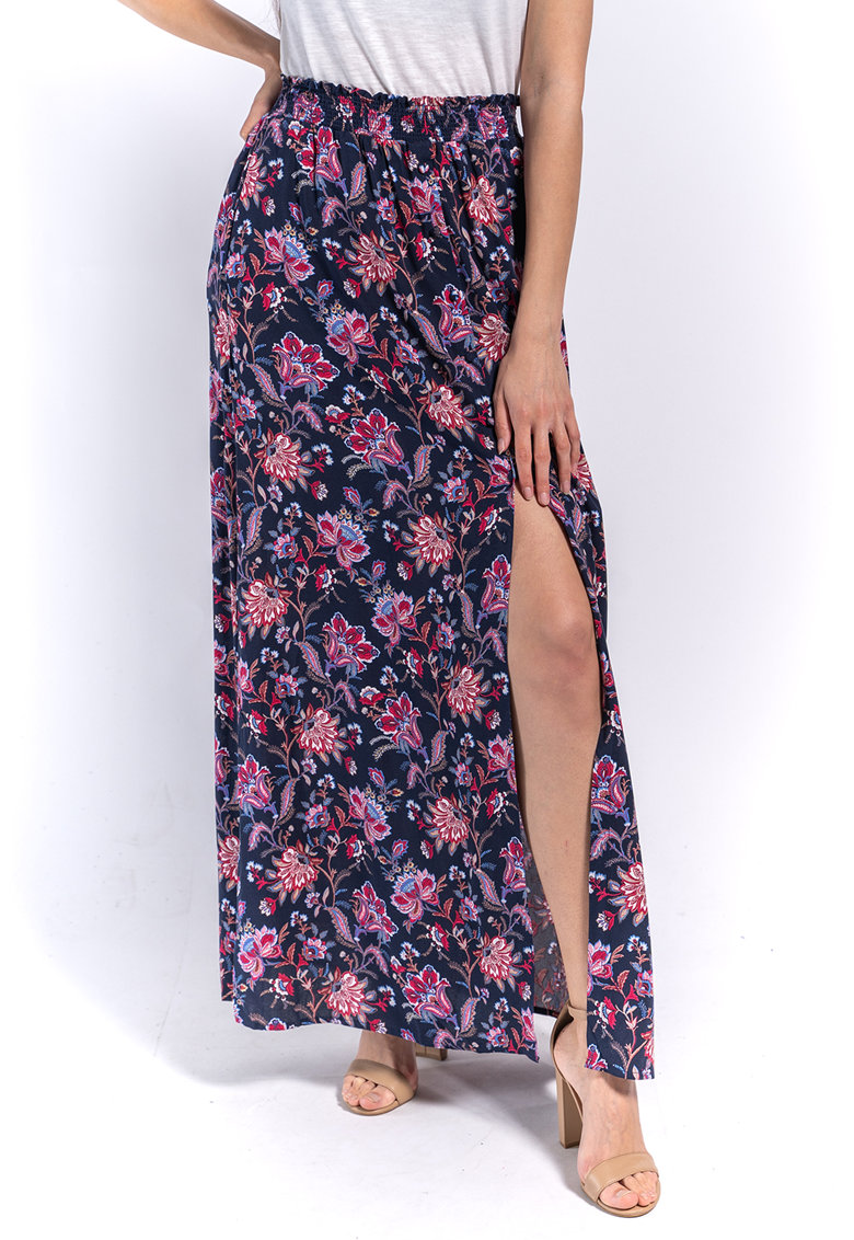Rochie maxi cu model floral si slit lateral poza fashiondays