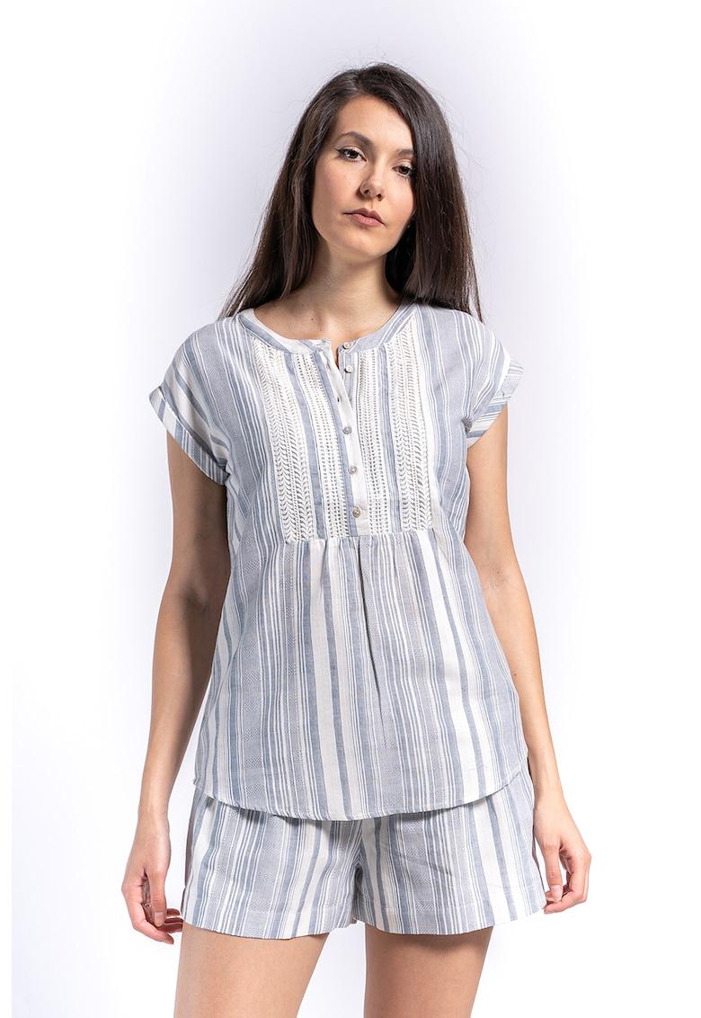 Bluza cu maneci scurte si insertii crosetate Lee Cooper fashiondays.ro