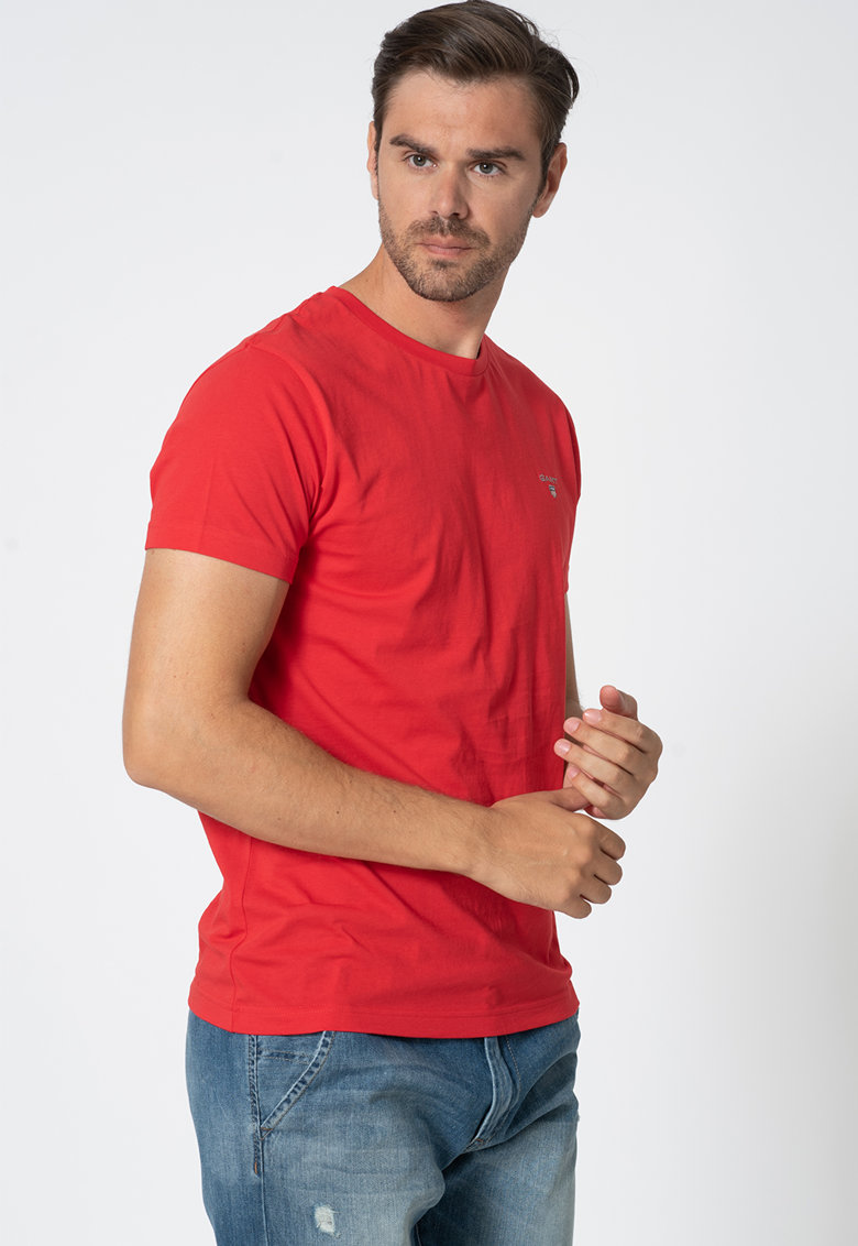 Tricou cu broderie logo discreta imagine fashiondays.ro
