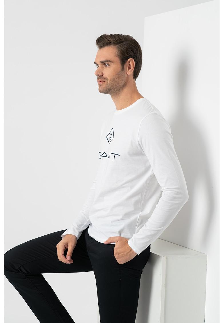 Bluza cu decolteu la baza gatului si imprimeu logo imagine