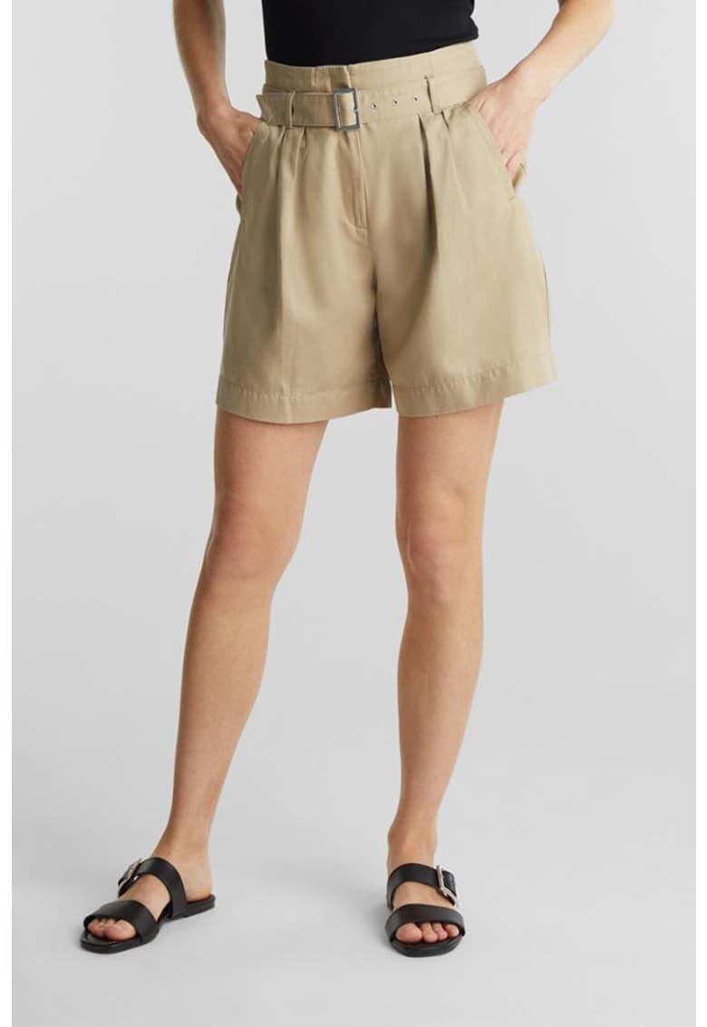 Pantaloni scurti din bumbac organic cu talie inalta si curea