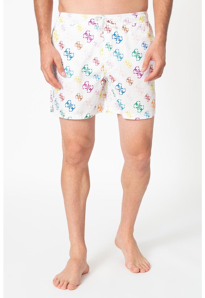 Pantaloni scurti de baie cu model monograma