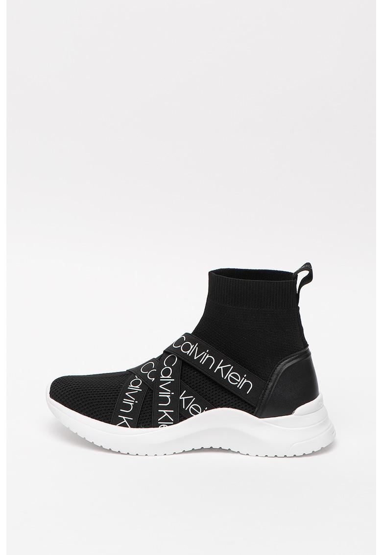 CALVIN KLEIN - Pantofi sport cu detalii de piele Clarice 3