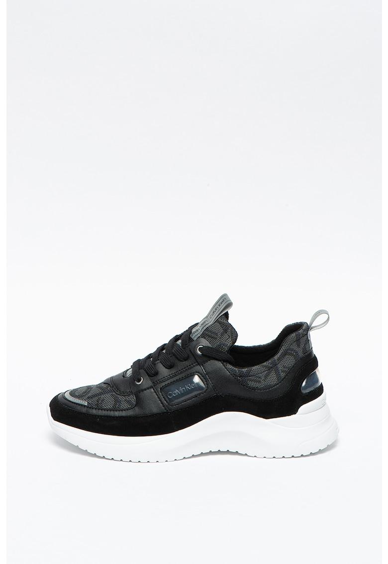 Pantofi sport wedge cu insertii de piele intoarsa