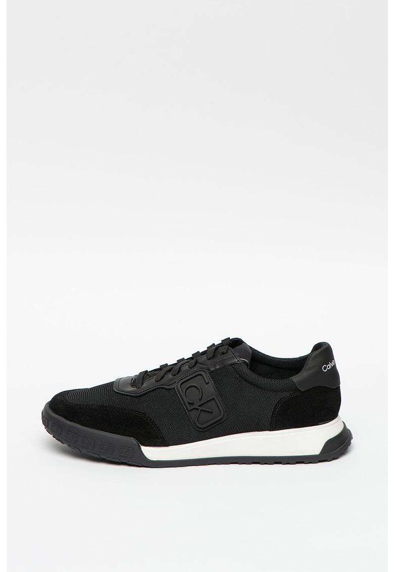 Pantofi sport din material textil - cu insertii de piele intoarsa ecologica Parker