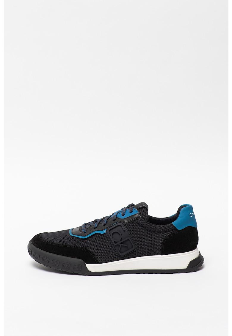 Pantofi sport din material textil cu insertii de piele intoarsa ecologica Parker