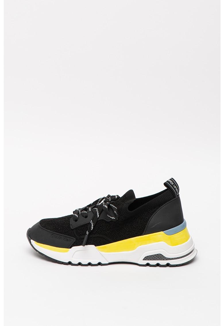 CALVIN KLEIN - Pantofi sport cu detalii de piele Clarice 2