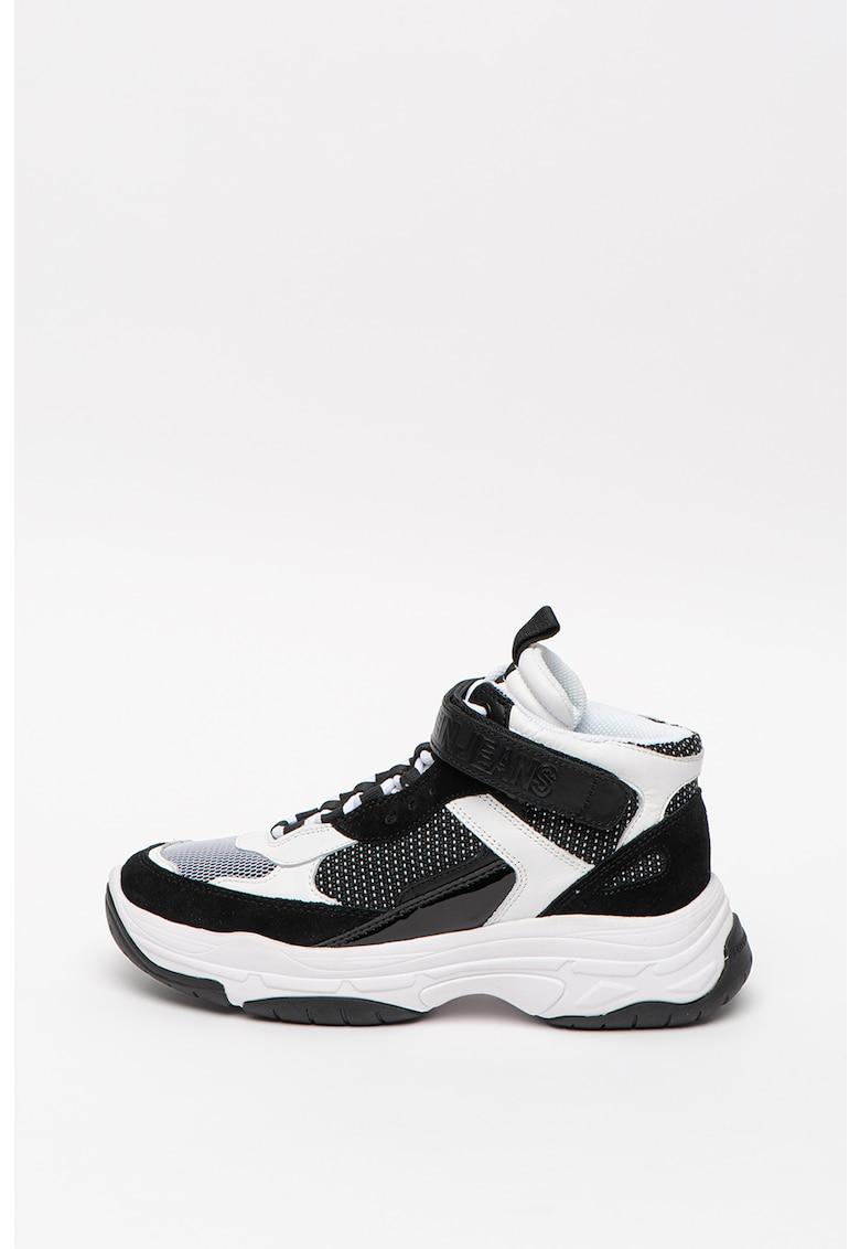 Pantofi sport wedge high-cut cu insertii de piele intoarsa Missie
