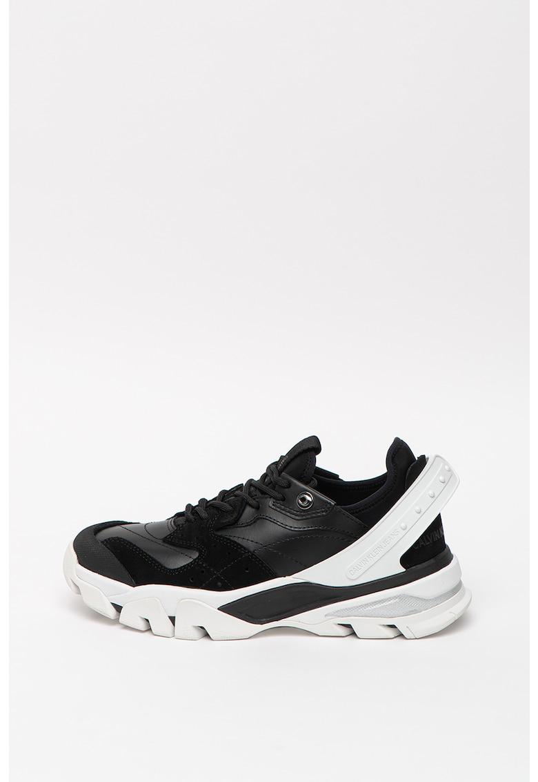 Pantofi sport wedge de piele ecologica Clarice