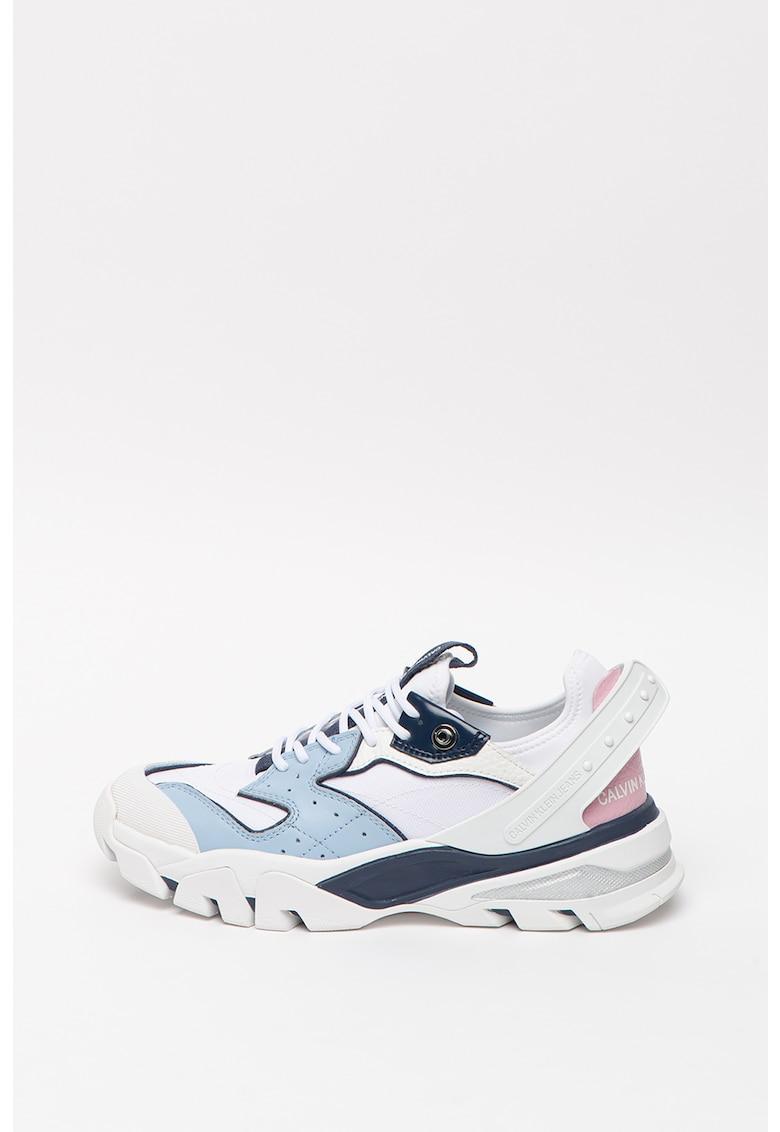 CALVIN KLEIN - Pantofi sport cu detalii de piele Clarice