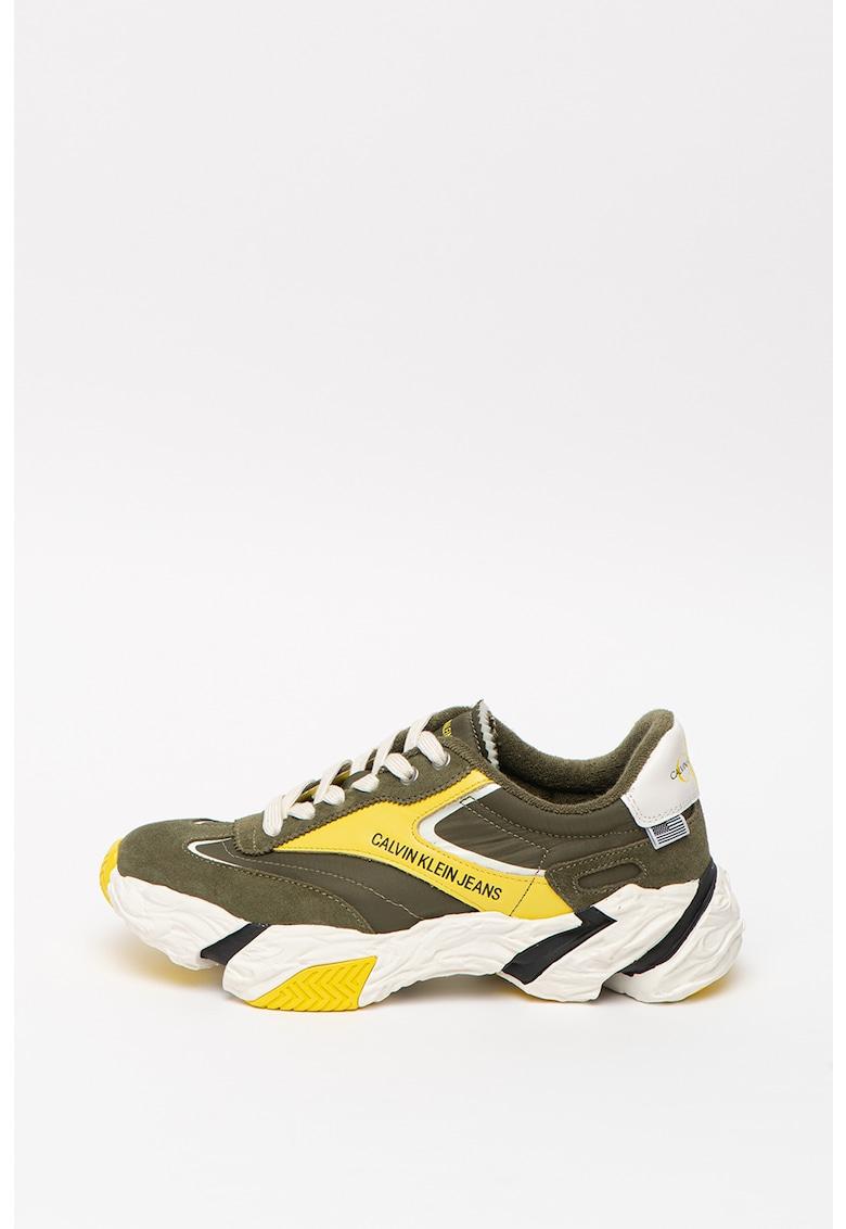 CALVIN KLEIN - Pantofi sport de piele si material textil - cu aspect masiv Sigma