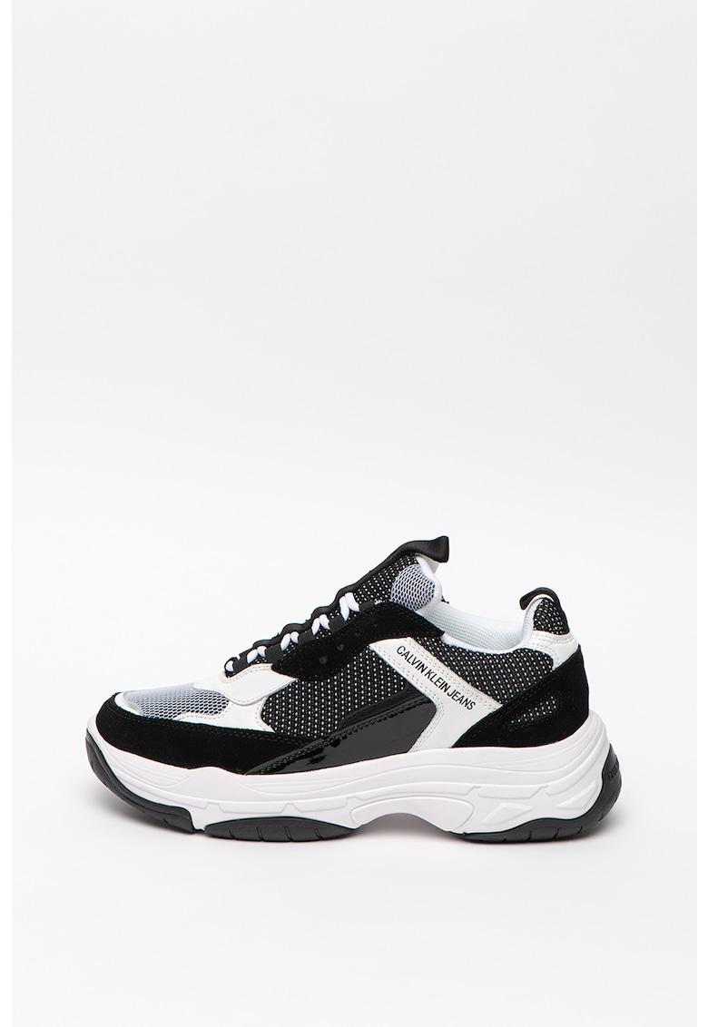 Pantofi sport de piele si piele ecologica cu insertii de plasa Marvin