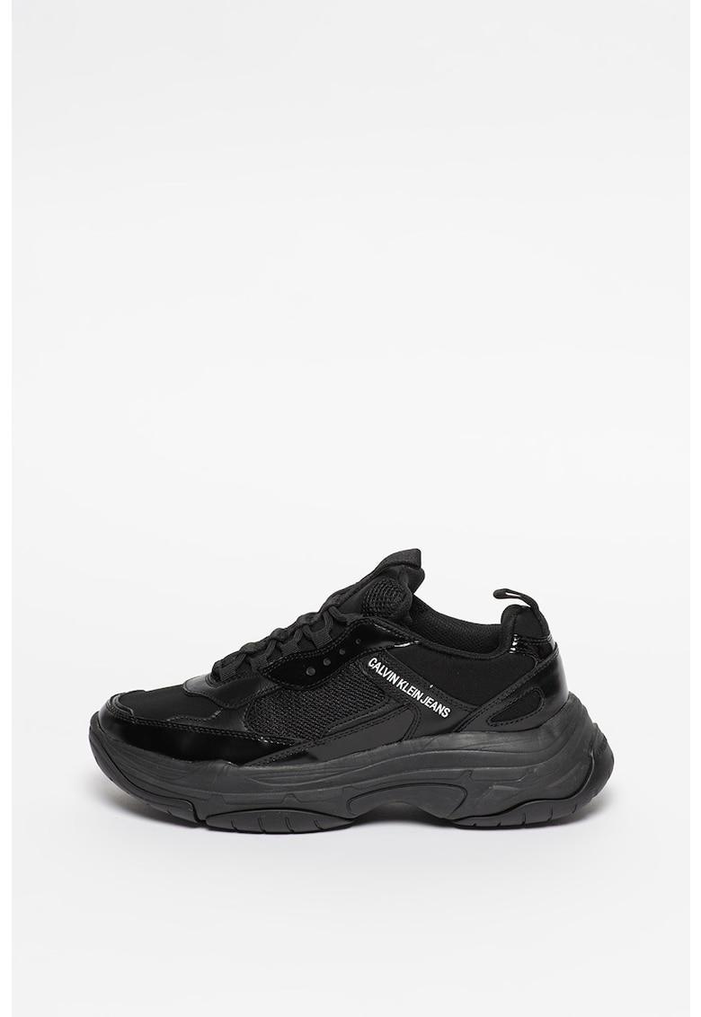 Pantofi sport de piele cu insertii de plasa Marvin