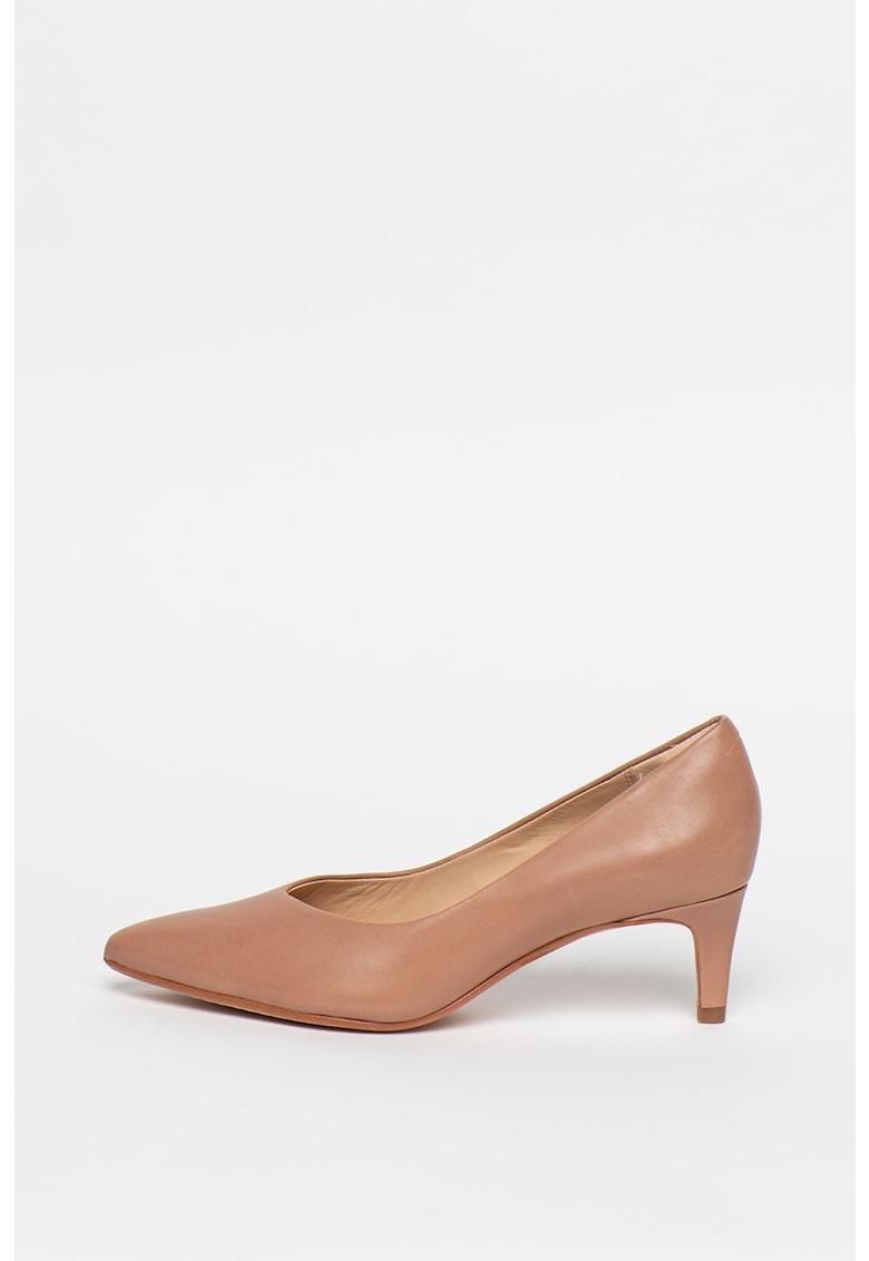 Pantofi de piele cu toc kitten si varf ascutit Laina