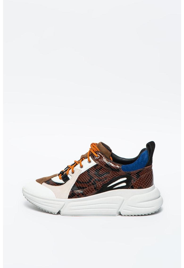 Pantofi sport din piele si piele intoarsa cu model colorblock TriComet Lace imagine promotie