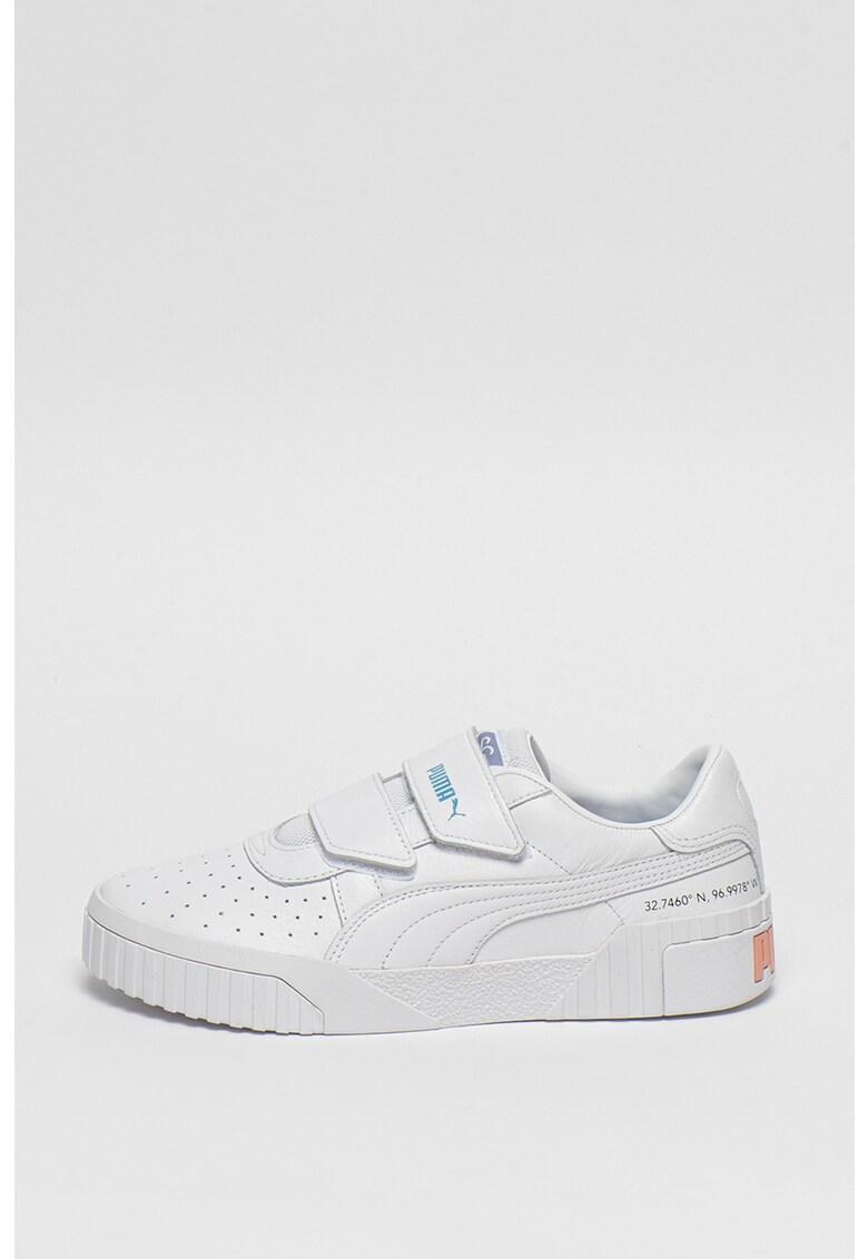 Pantofi sport din piele cu inchidere velcro si detalii perforate Cali