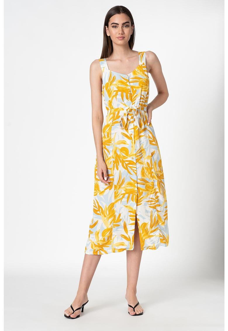 Rochie midi cu imprimeu tropical