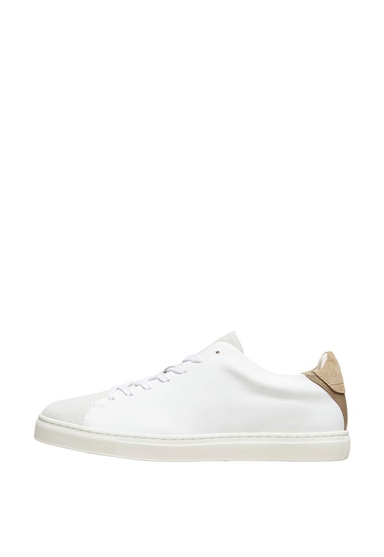 Pantofi sport din piele cu insertii din piele intoarsa poza fashiondays