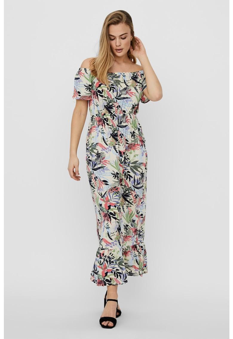 Rochie cu decolteu pe umeri si model floral