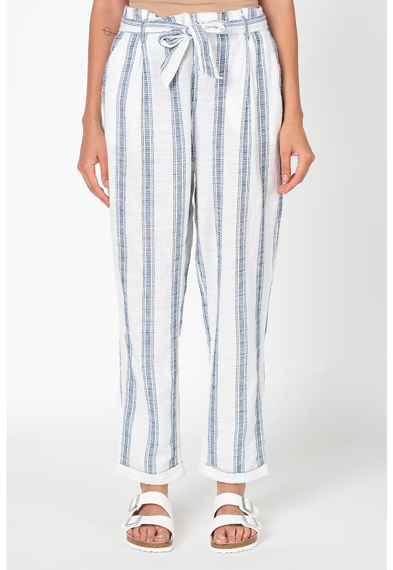 Pantaloni drepti in dungi cu talie inalta