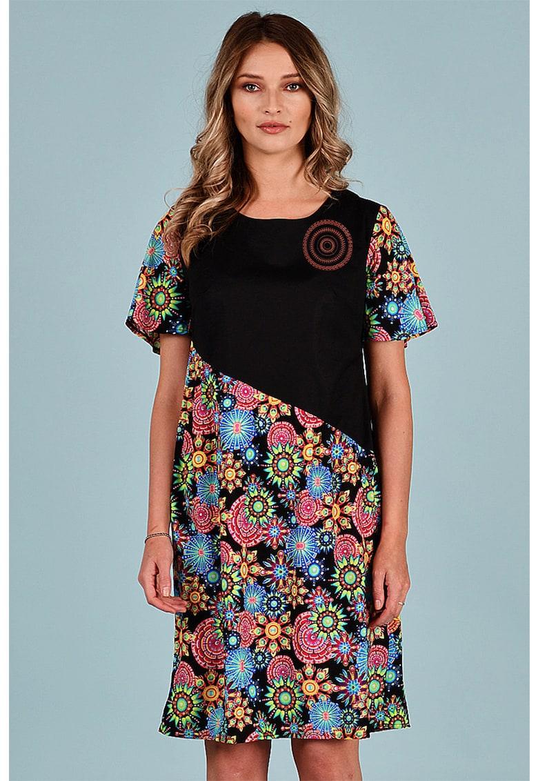 Rochie evazata cu segmente florale Format-Lady