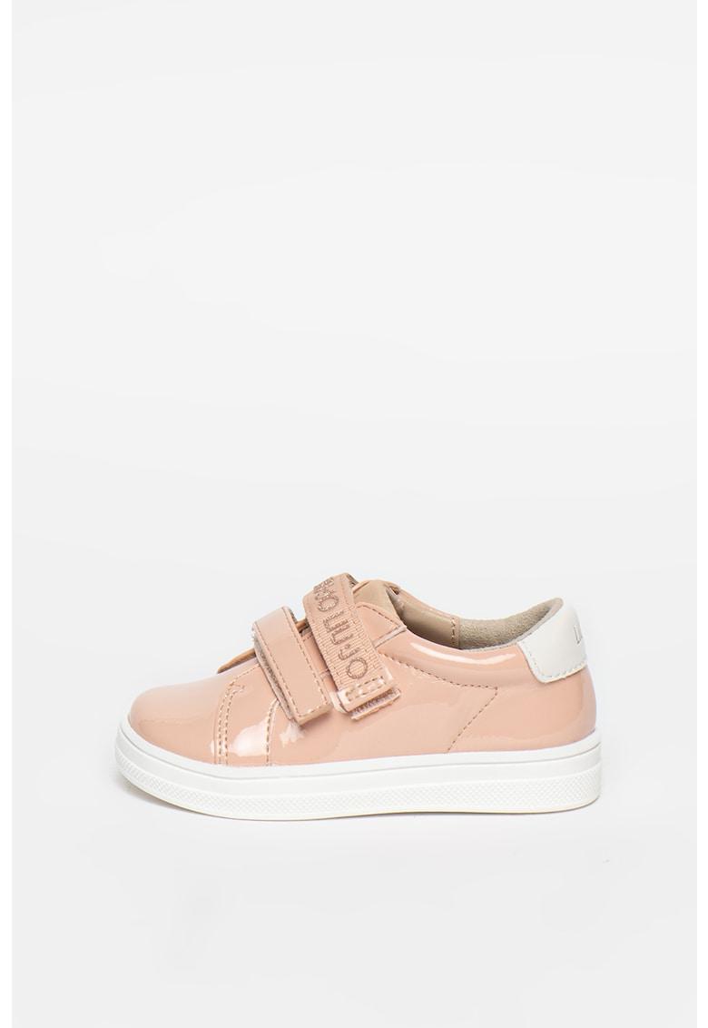 Pantofi sport cu velcro si aspect lacuit Mini Alicia