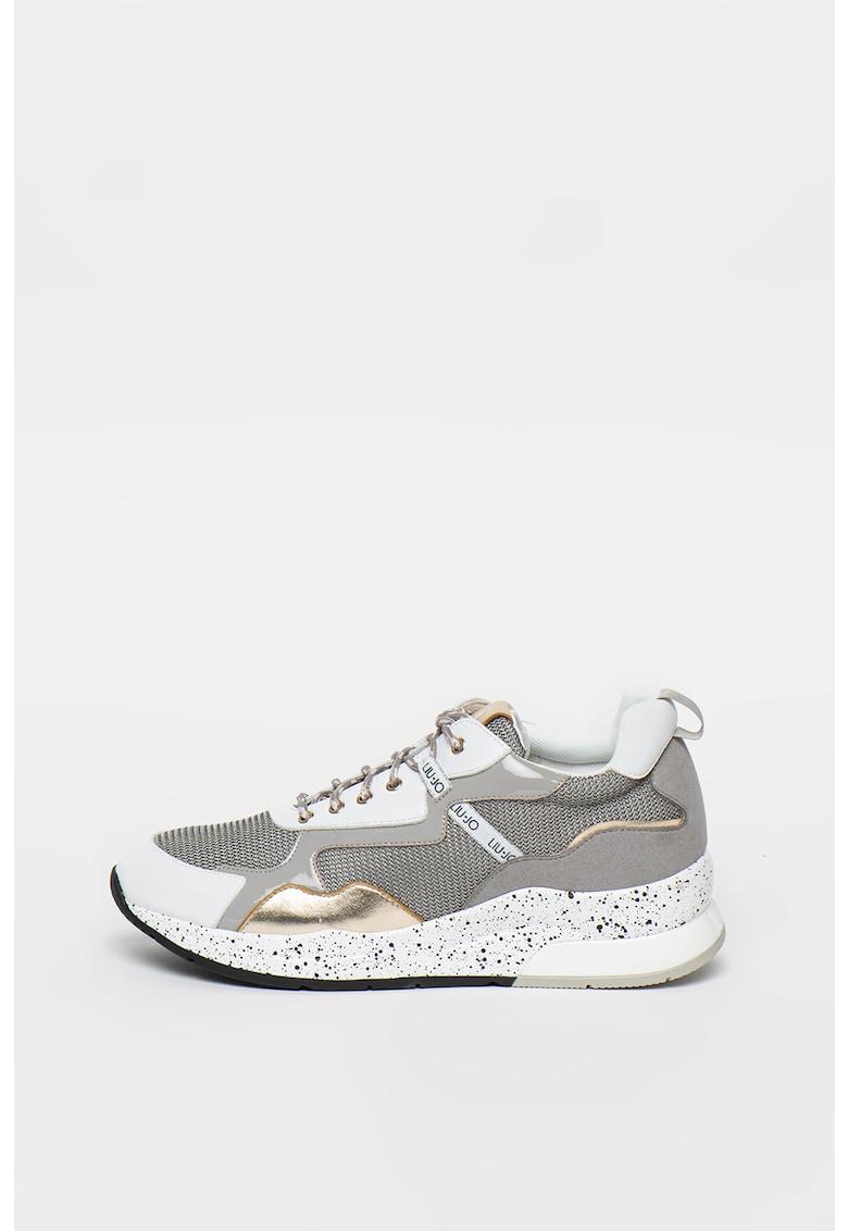 Pantofi sport wedge cu insertii de plasa cu aspect stralucitor Karlie
