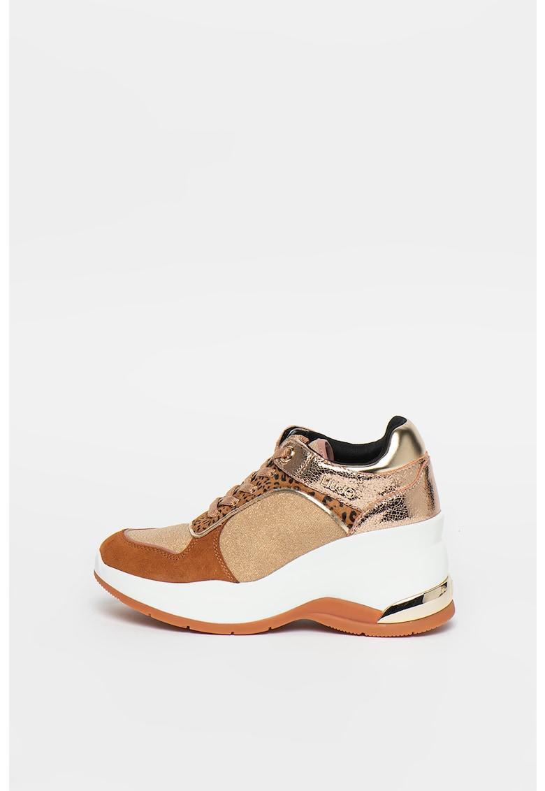 Pantofi sport wedge cu garnituri metalizate Karlie Revolution