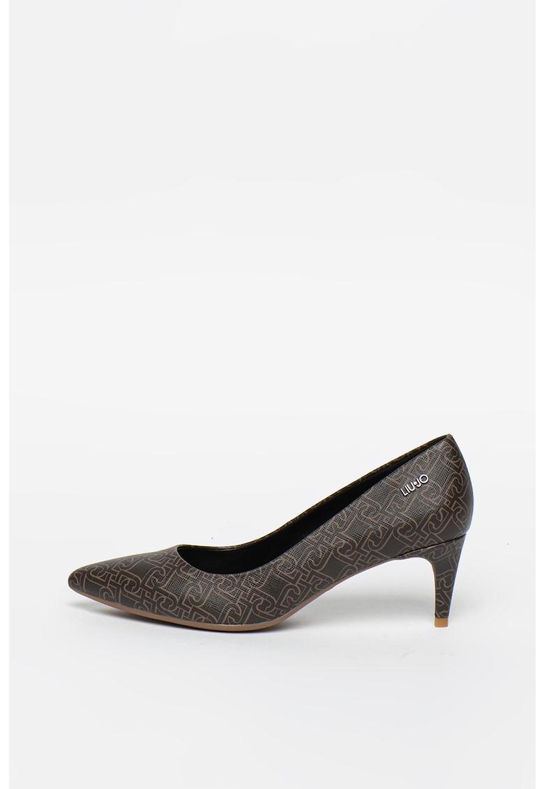 Pantofi de piele ecologica - cu varf ascutit si imprimeu logo Katia