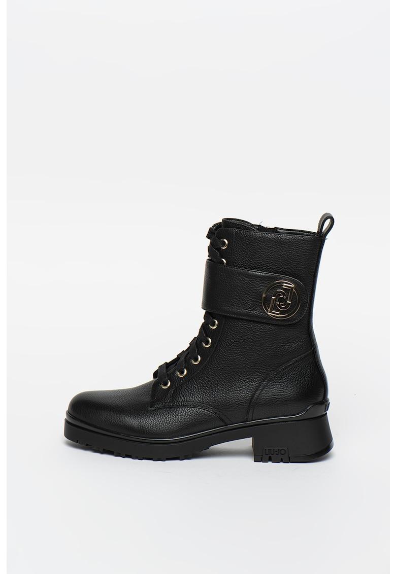 Cizme mid-calf cu logo metalic Leather
