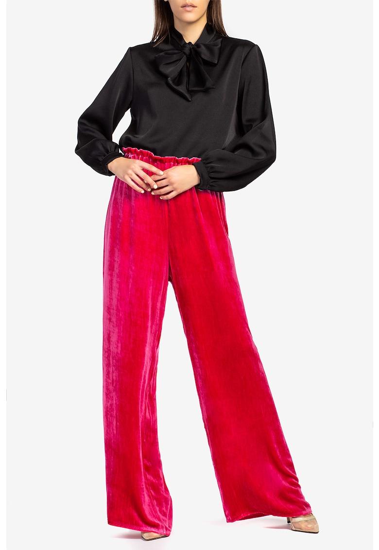 Pantaloni palazzo din in cu talie elastica imagine
