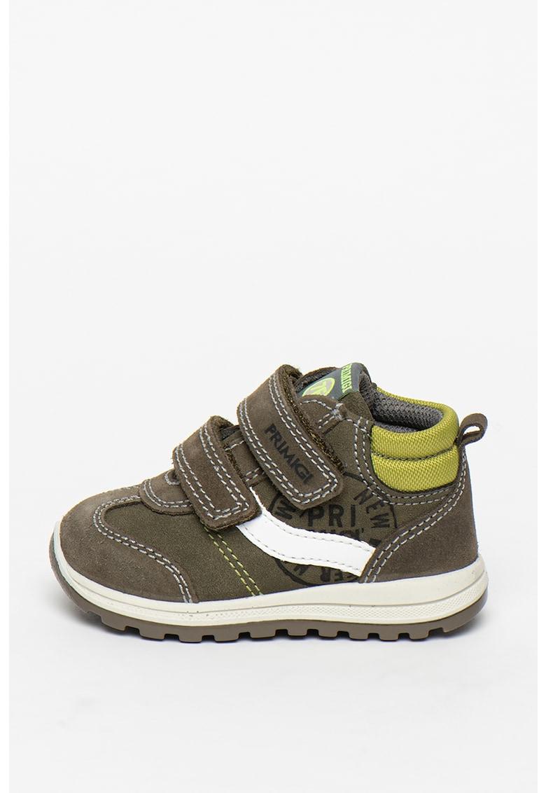 Pantofi sport de piele intoarsa si piele intoarsa ecologica cu velcro