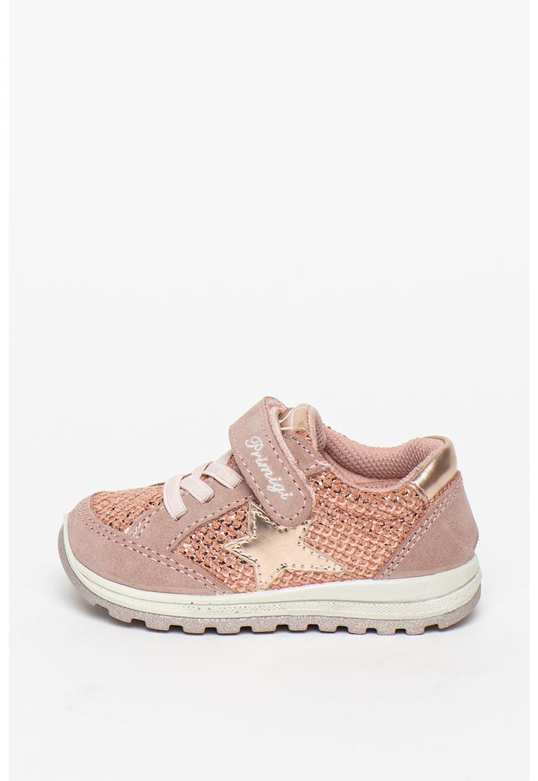 Pantofi sport de piele intoarsa cu insertii de piele ecologica