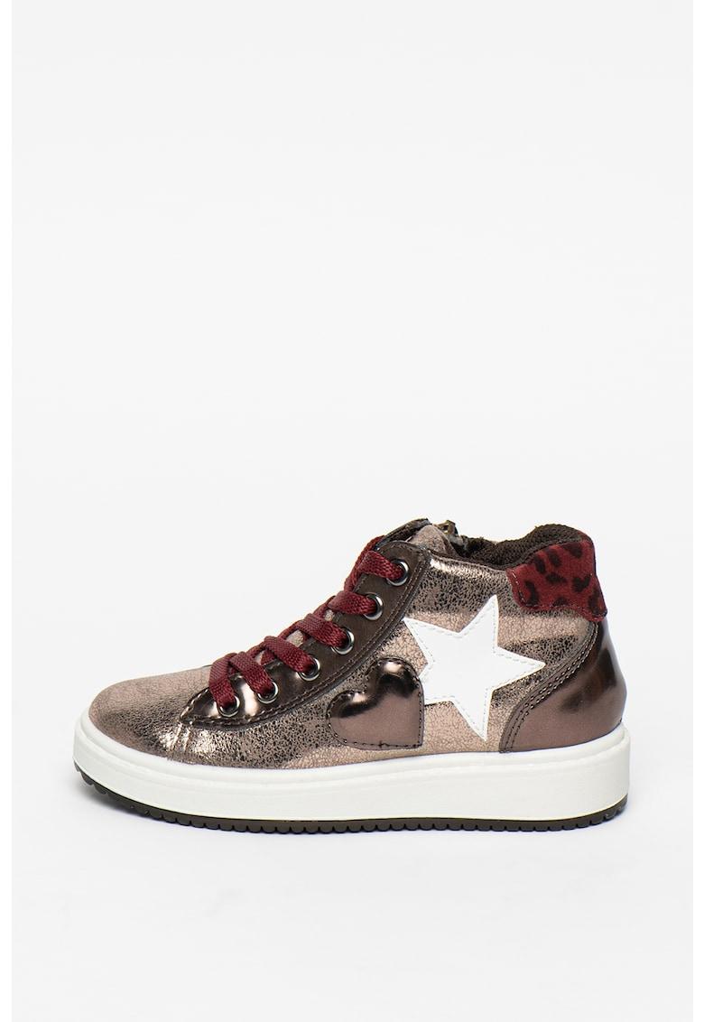 Pantofi sport de piele ecologica cu aspect metalizat