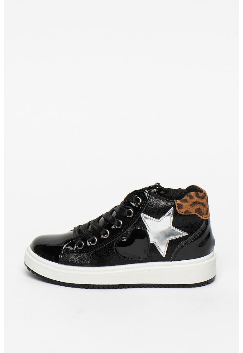 Pantofi sport de piele ecologica cu aspect lacuit