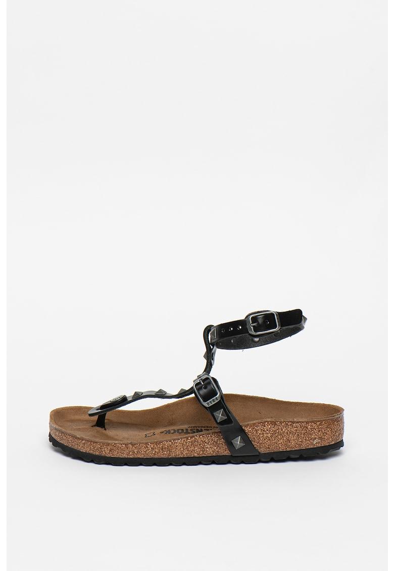Sandale de piele cu bareta separatoare si tinte Marillia fashiondays.ro